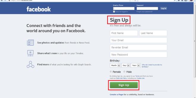 Facebook Create New Account New