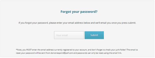 Forgot my pof password