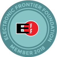 "Electronic Frontier Foundation logo with ""member 2018"" at the bottom"
