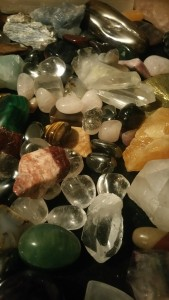 Pile of crystals and semi-precious stones