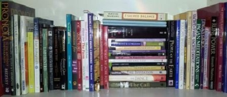 A shelf of books that have influenced my spirituality.
