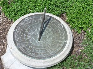 A close-up of a sundial surrounded by low greenery, showing a time of about 12:30.