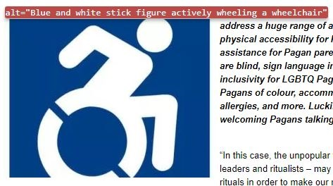 """Screen shot of the alt text over an image: """"Blue and white stick figure actively wheeling a wheelchair."""""""