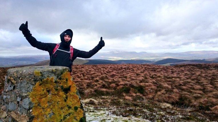 Lichen covered trig in a remote part of Snowdonia
