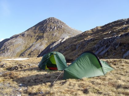 Wild camping in the shadow of Stob Ban in the Grey Corries