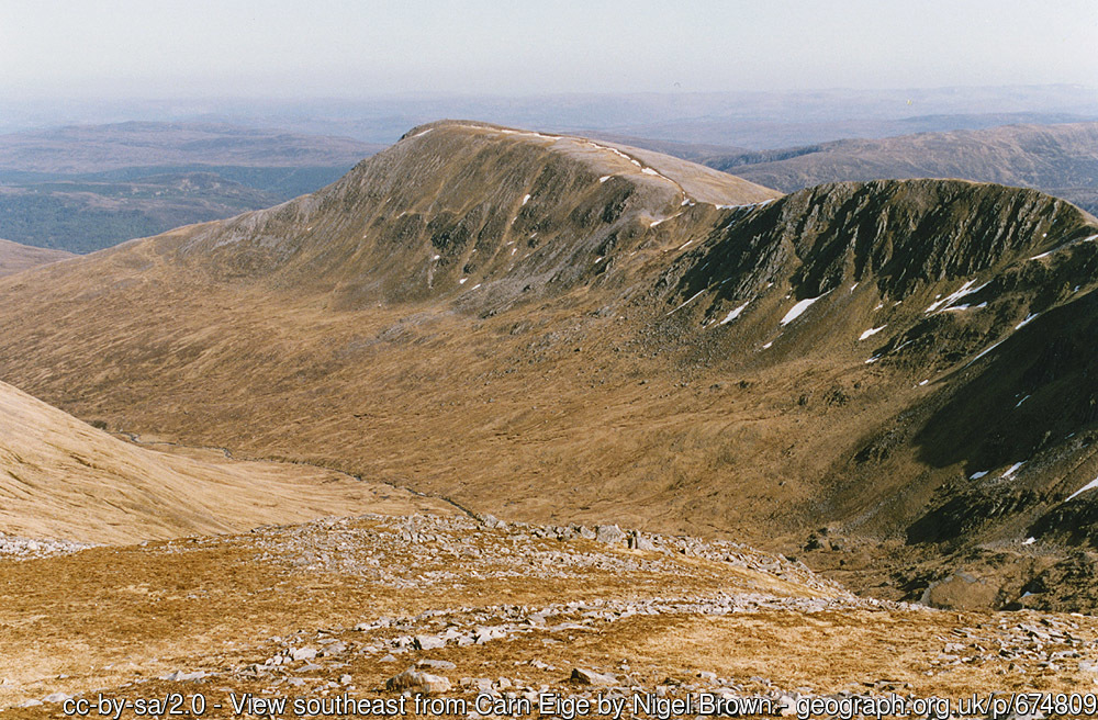 View southeast from Carn Eige Looking towards Gleann nam Fiadh, with Sgurr na Lapaich beyond.