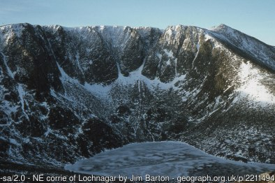 NE corrie of Lochnagar The impressive sweep of crags of Lochnagar gives renowned climbing routes in summer and winter. The highest point, Cac Carn Beag (1155m), is to the right.