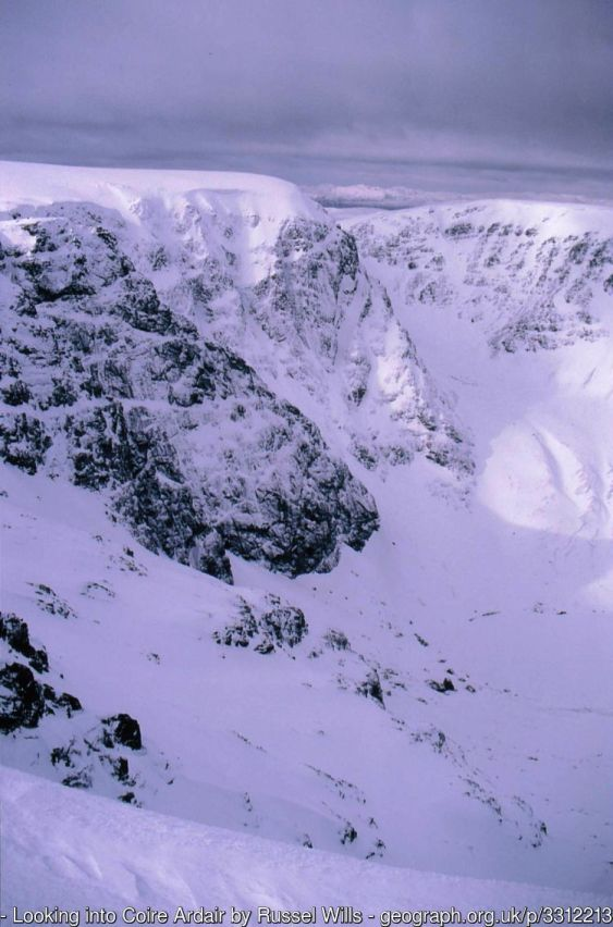 Looking into Coire Ardair From Puist Coire Ardair, one of Creag Meagaidh's several tops. Lochan a' Choire frozen and snow covered in bottom right corner.