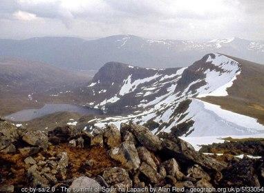 The summit of Sgurr na Lapaich Loch Tuill Bhearnach lies below Creag a' Chaorainn.