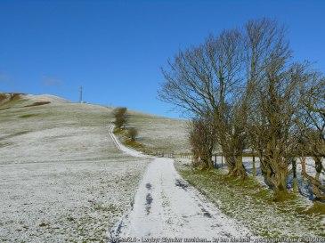 Lwybyr Glyndwr uwchben Llanbrynmair /Glyndwr's Way above Llanbrynmair Mast Ffon symudol ar Lwybyr Glyndwr / Mobile phone mast on Glyndwr's Way