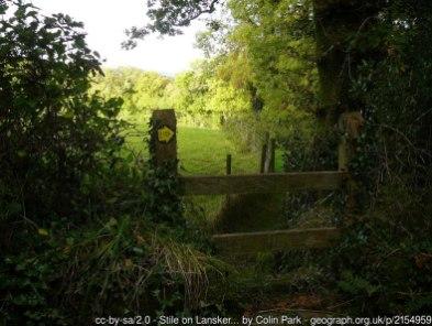 Stile on Lansker Borderlands Trail above Llangwm Farm