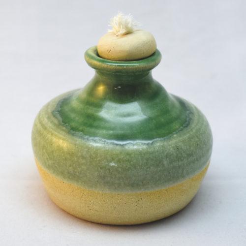 emerald green stoneware oil lamp