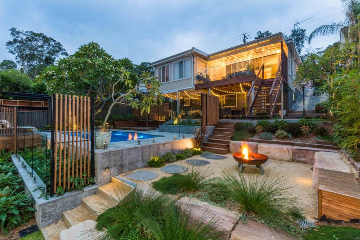 Adamstown Heights Backyard Landscape with Fire Pit