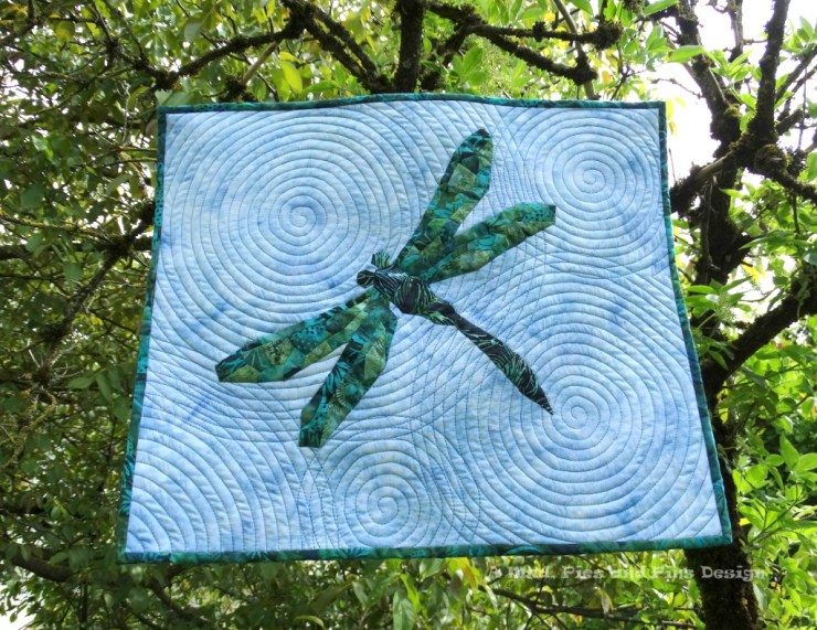 """Ripples"" EPP Dragonfly mini quilt 