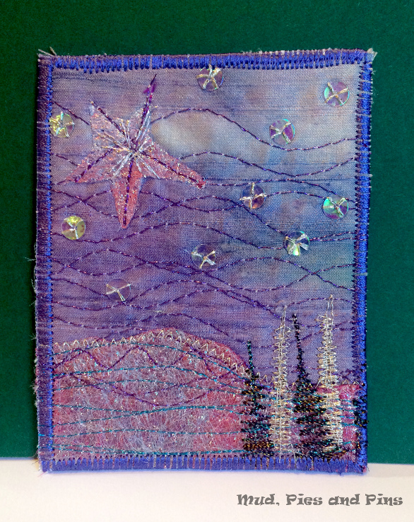 Winter Sparkle  Fabric ATC received by Mud Pies and Pins