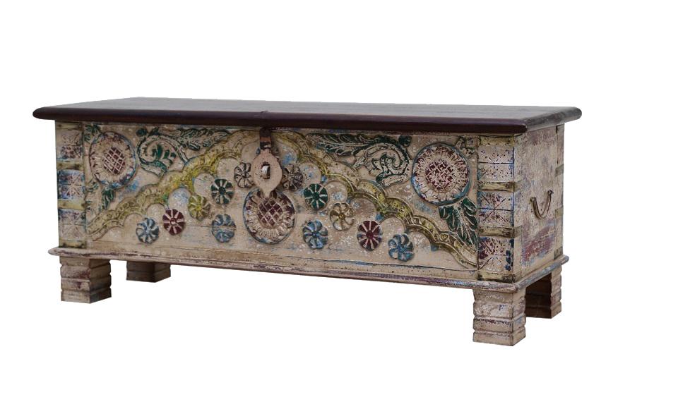Baul de madera de mango con apliques de bronce 6521 mueble home - Apliques de bronce para muebles ...