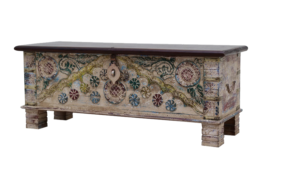 Baul de madera de mango con apliques de bronce 6521 for Apliques de bronce para muebles