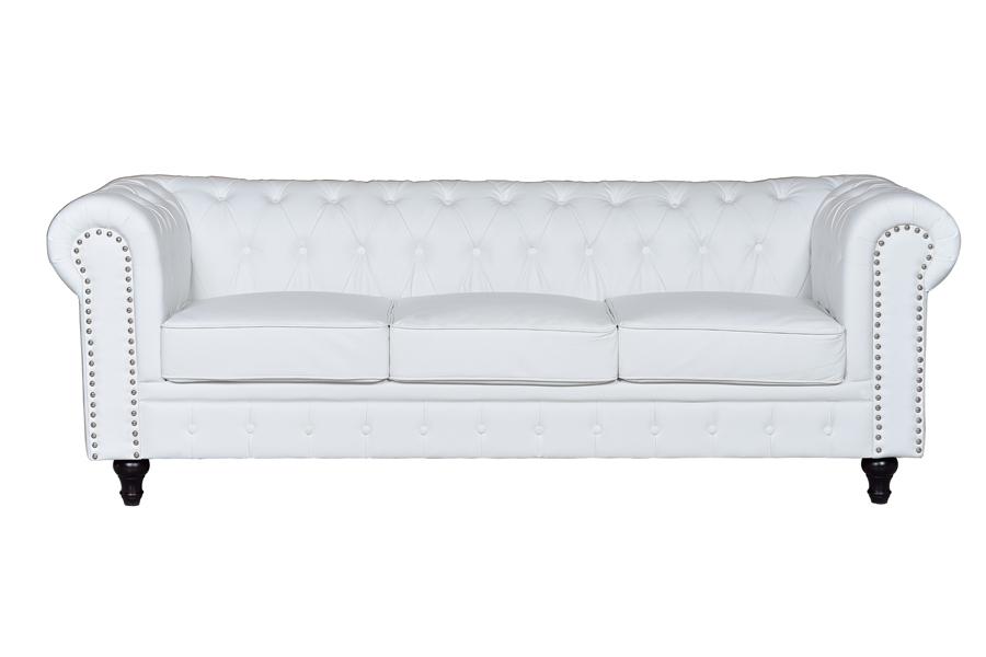 Sof chester semi piel blanco 3 plazas mueble home - Sofas chester piel ...
