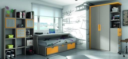 Práctica y completa habitación juvenil en tono gris y amarillo