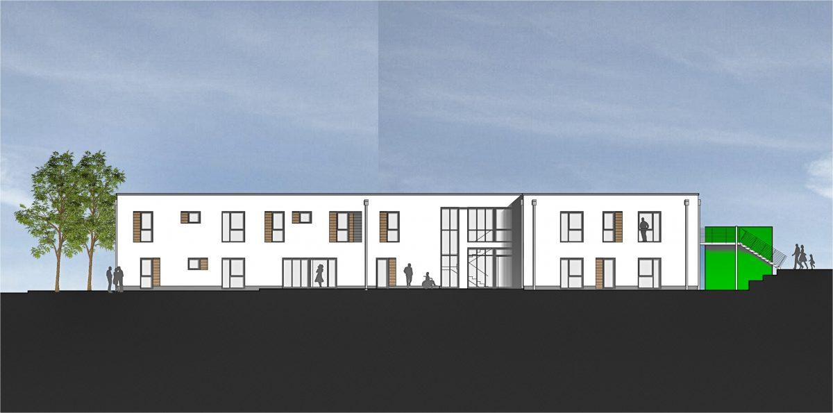 Südansicht Neubau eines Wohnhauses für Menschen mit Behinderung durch muellerarchitekt. Solingen