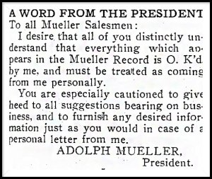 Newspaper clipping with statement from President, Adolph Mueller.
