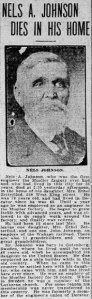 "Nels A. Johnson newspaper clipping that reads ""Nels A. Johnson dies in his home"""