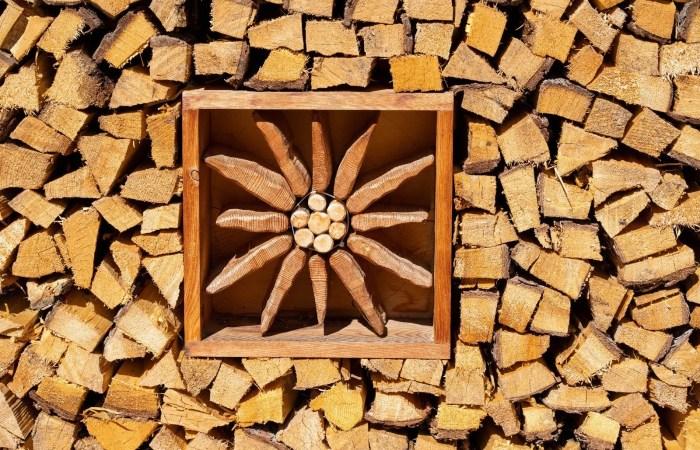 Edelweiß in Holzstoß - Kusntmotiv