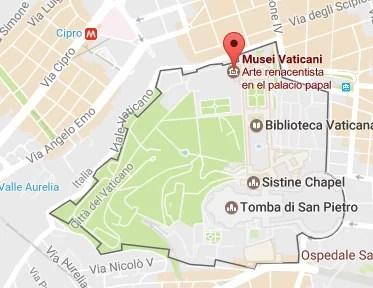 Mapa del conjunto de los Museos Vaticanos