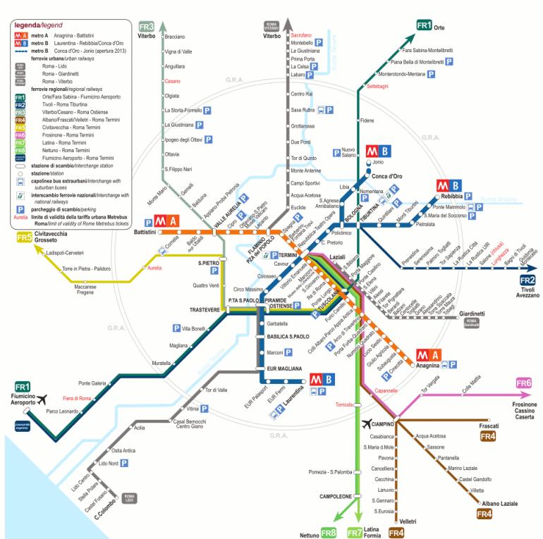 Plano del tren de Roma