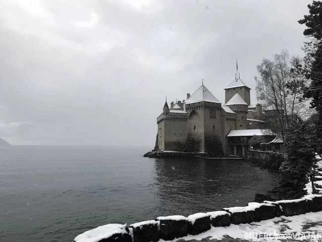 El nevado Castillo de Chillon en Montreux