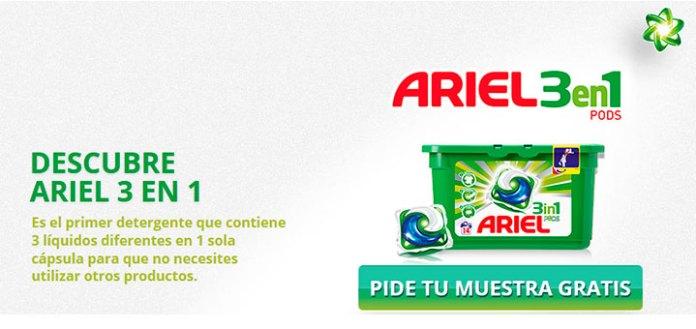muestras gratis de ariel 3 en 1