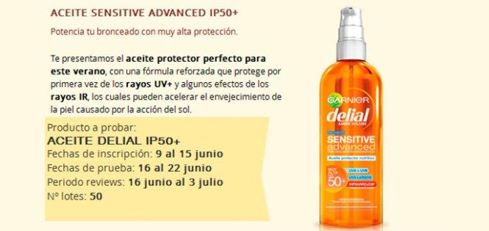 Prueba gratis Aceite Sensitive Delial