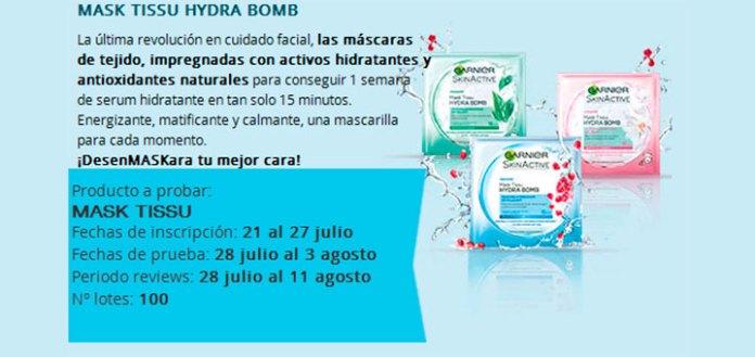 Prueba gratis Mask Tissu Hydra Bomb