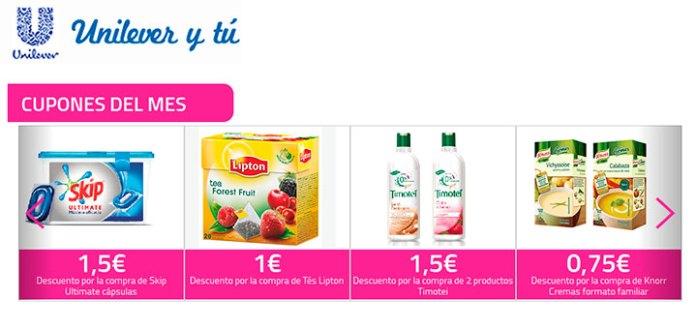 Cupones descuento en Unilever y tú