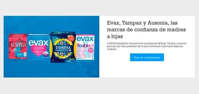Buscan embajadoras de Evax, Tampax y Ausonia