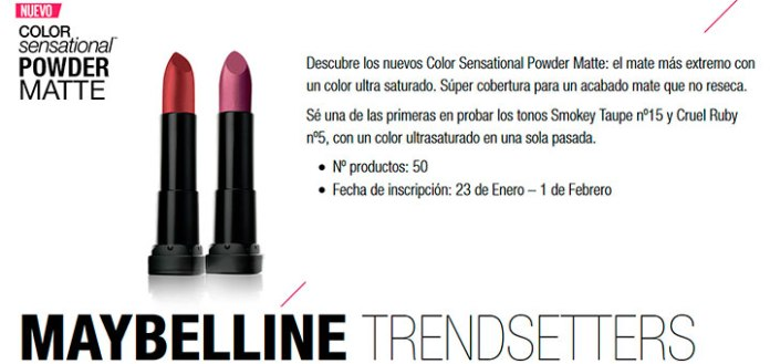 Prueba gratis Color Sensational Powder Matte de Maybelline