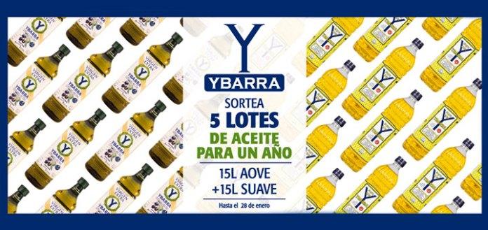 Sortean 5 lotes de aceite de oliva Ybarra para 1 año
