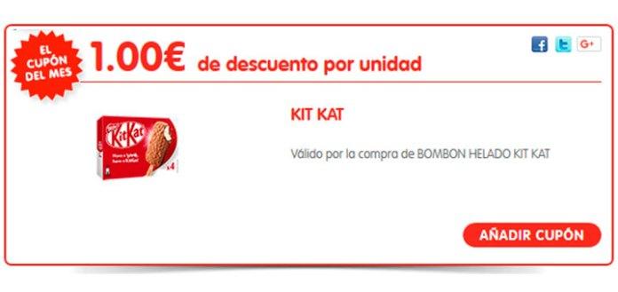 1 euro de descuento en Bombon Helado Kit Kat