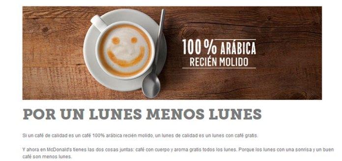 Disfruta los lunes de café gratis en McDonald's