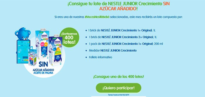 Sortean 400 lotes de Nestlé Junior Crecimiento