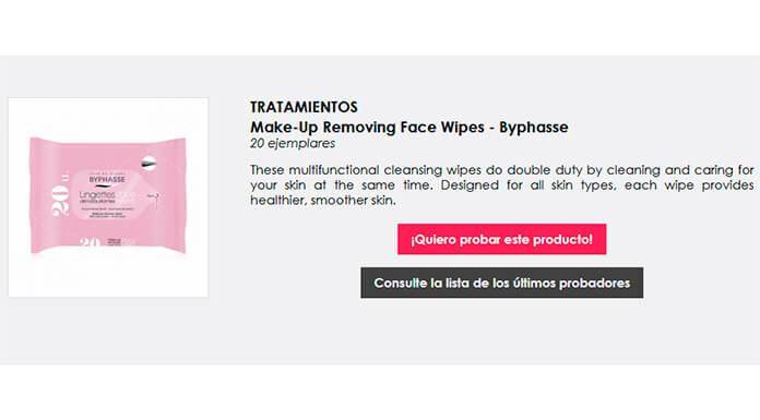 Prueba gratis toallitas desmaquillantes Byphasse