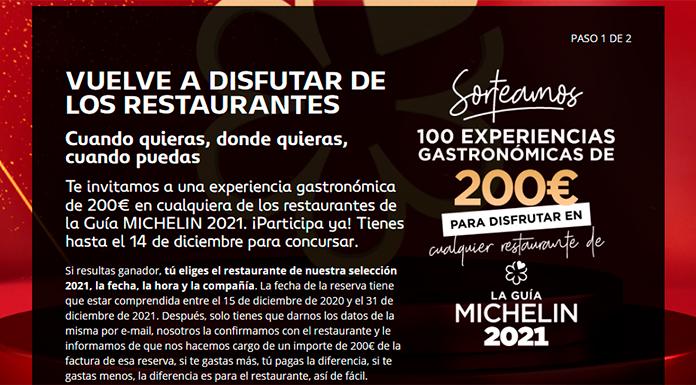 Gana una experiencia gastronómica de 200€ con Guía Michelin 2021