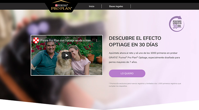 Dan a probar gratis Purina Pro Plan Optiage