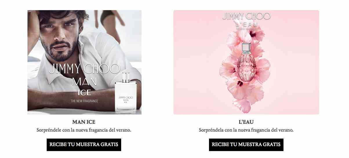 Muestras gratis de perfumes de Jimmy Choo