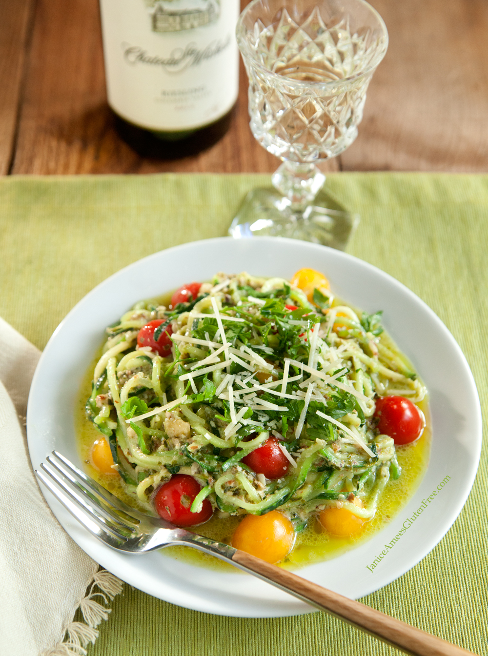 Amazing Low-Carb, Gluten-Free Pesto Pasta! So easy and delicious!