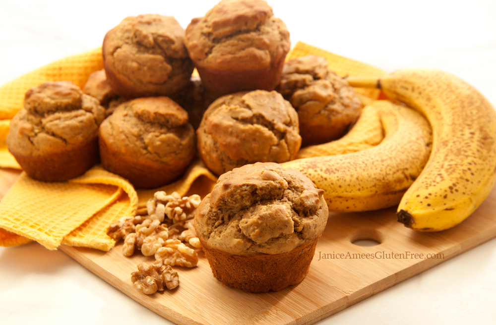DELICIOUS Gluten-Free Banana Nut Protein Muffins by Janice Amee's Gluten Free! Her blog is FULL of yummy GF recipes like this one! www.JaniceAmeesGlutenFree.com