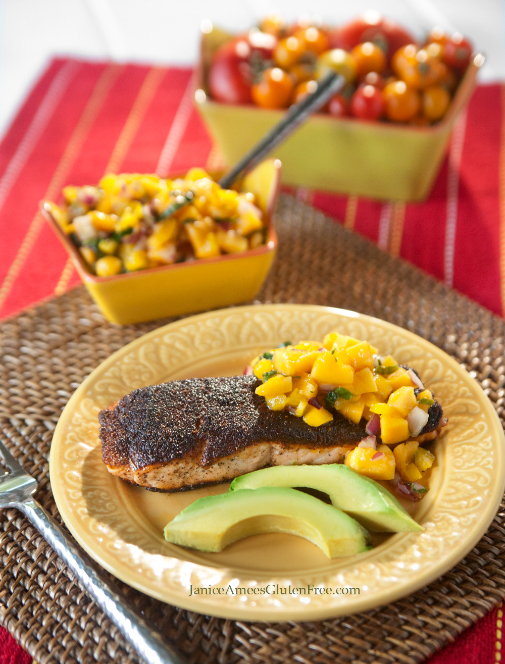 Blackened Salmon with Mango Salsa by Janice Amee's Gluten Free