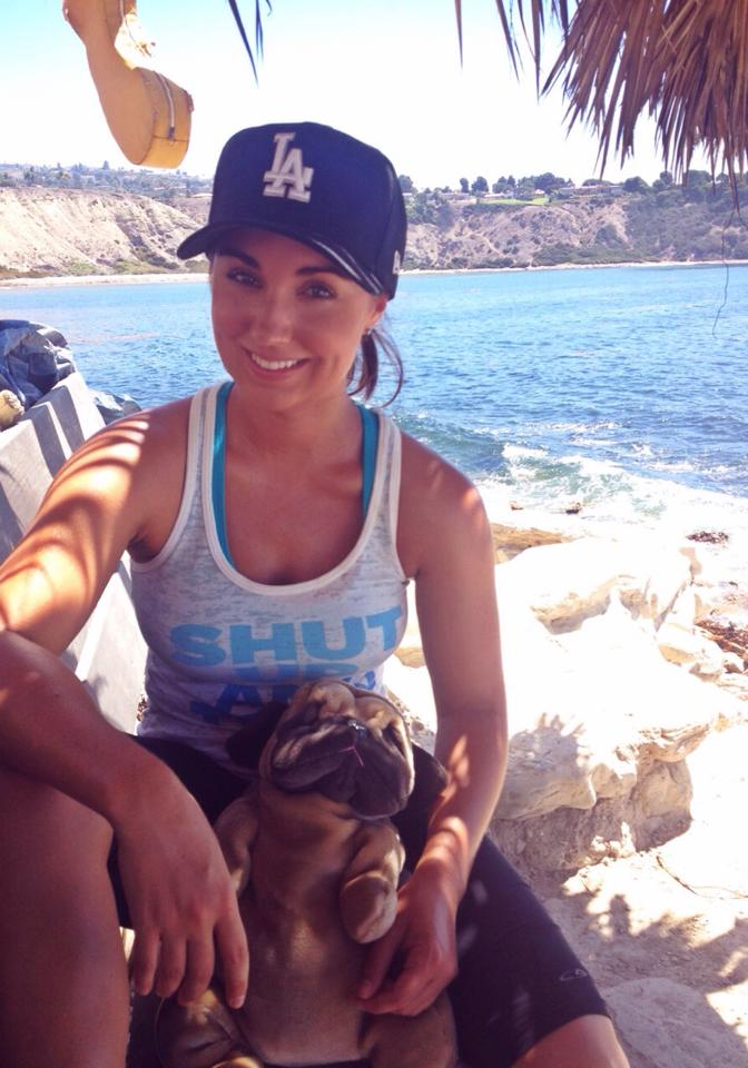 Pickles the Pug and I takin' a break during our hike