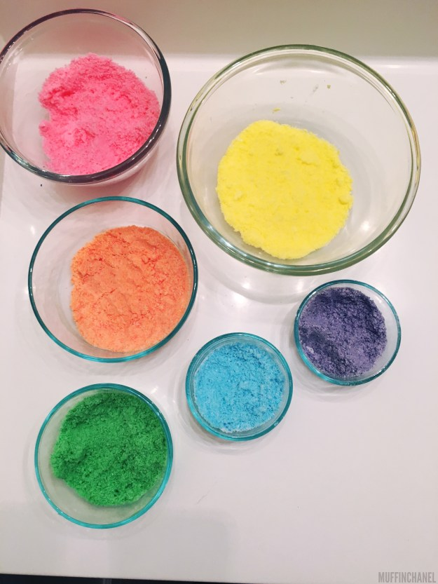 MuffinChanel DIY Bath Bomb LUSH recipe bath bombs essential oils ingredients food coloring rainbow bath bomb