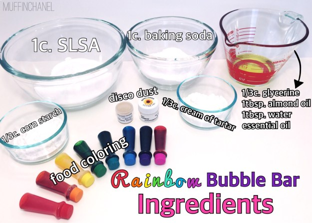 I need this bubble bar in my life #obsessed DIY Rainbow Bubble Bar recipe LUSH Inspired muffinchanel DIY bubble bars recipe. so cute. I love these. ingredients everything you need slsa
